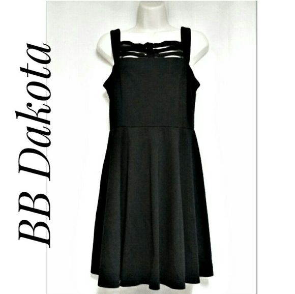BB Dakota Dresses & Skirts - BB Dakota Black Lattice Top Fit & Flare Dress Sz S